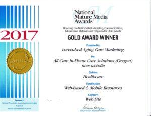 All Care website National Mature Award Winner