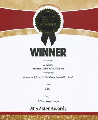 2015 Gold Aster Award  Advanced TeleHealth Solutions  e-Newsletter
