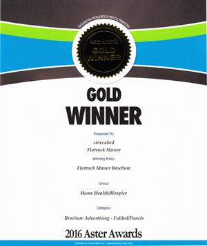 2016 Gold Aster Award Flatrock Manor's  Assisted Living Brochures